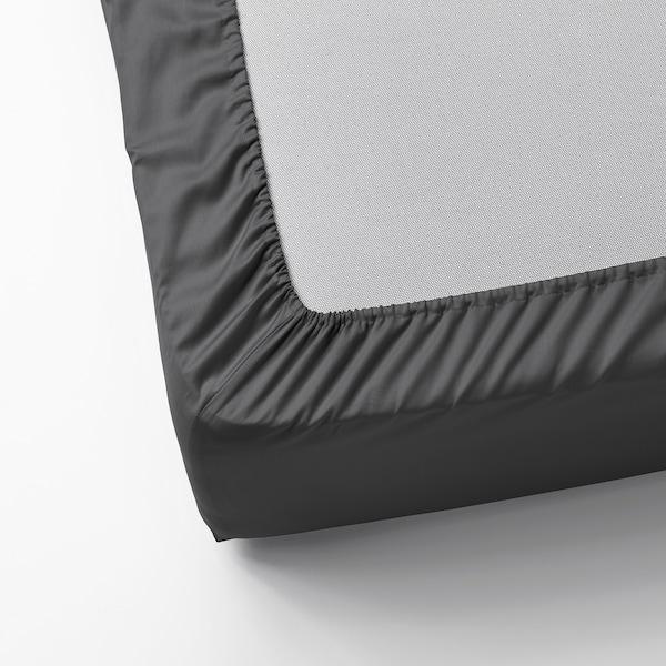 NATTJASMIN Lenzuolo con angoli, grigio scuro, 180x200 cm