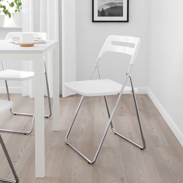 Ikea Sedie Pieghevoli Legno.Nisse Sedia Pieghevole Lucido Bianco Cromato Ikea