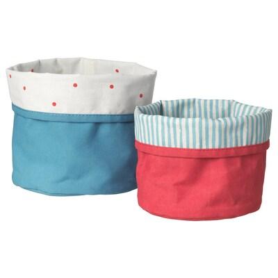 NÖJSAM Set di 2 cestini, rosso/blu