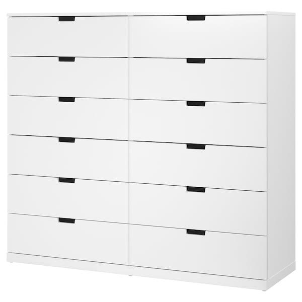 NORDLI Cassettiera con 12 cassetti, bianco, 160x145 cm