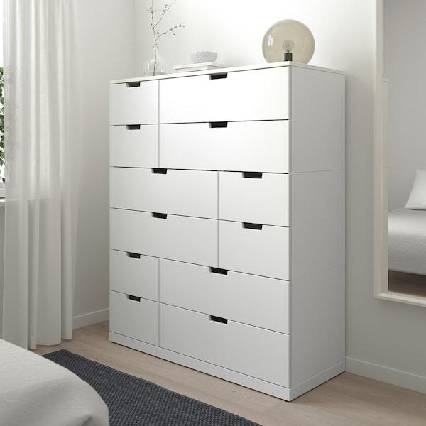 NORDLI Cassettiera con 12 cassetti, bianco, 120x145 cm