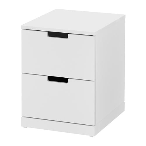nordli cassettiera con 2 cassetti bianco ikea. Black Bedroom Furniture Sets. Home Design Ideas
