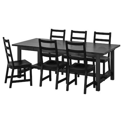 NORDVIKEN / NORDVIKEN Tavolo e 6 sedie, nero/nero, 210/289x105 cm