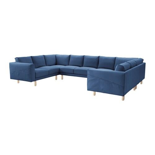 NORSBORG Divano a 9 posti a U - Edum blu scuro, betulla - IKEA