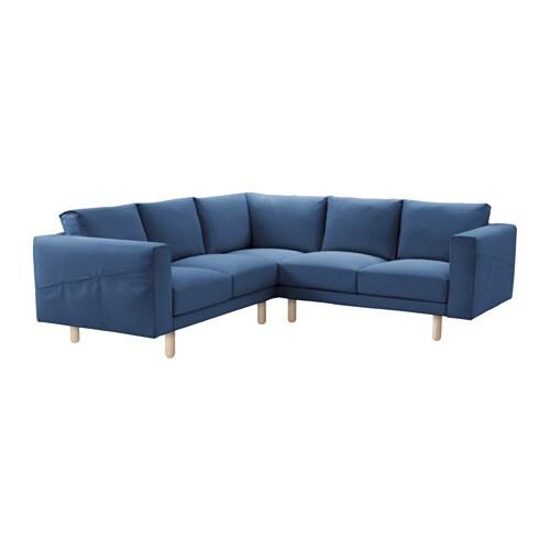 NORSBORG Divano angolare 2+2 - Edum blu scuro, betulla - IKEA