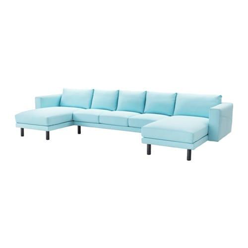 Norsborg divano 3 posti con 2 chaise longue edum azzurro grigio ikea - Divano chaise longue ikea ...