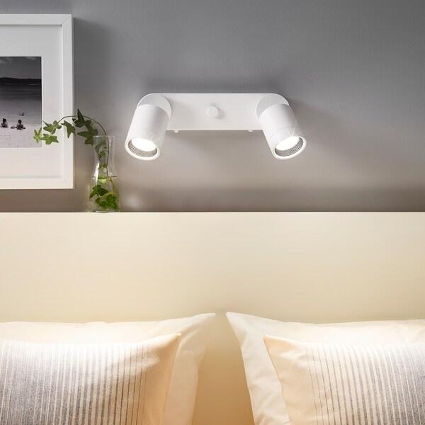 NYMÅNE Lampada parete doppia install fissa, bianco