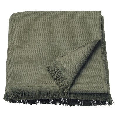 ODDRUN Plaid, verde scuro, 130x170 cm
