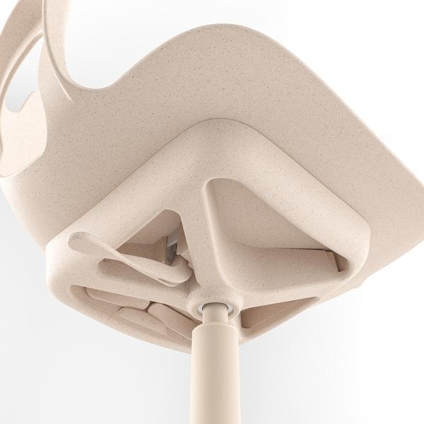 ODGER Sedia girevole, bianco/beige