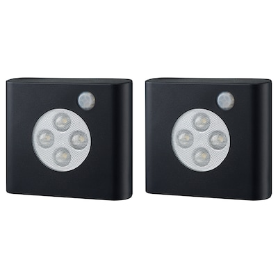 OLEBY Illuminazione guardaroba/sensore, nero, 2 pezzi
