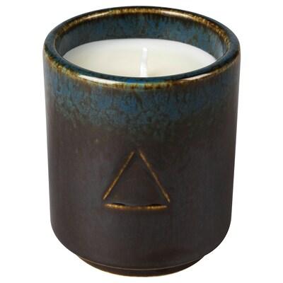 OSYNLIG Candela profumata e vaso, Tabacco e miele/nero blu, 7 cm