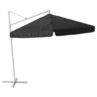 OXNÖ / VÅRHOLMEN Ombrellone a sospensione, grigio/grigio scuro, 300 cm