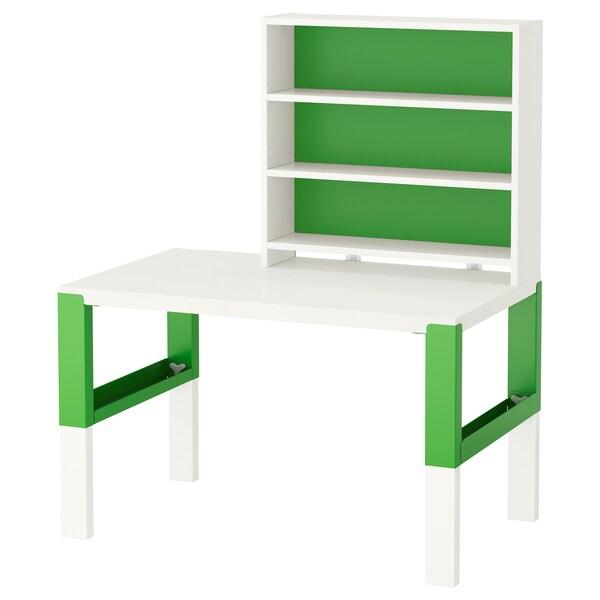P hl scrivania con scaffale bianco verde ikea for Scaffale da scrivania