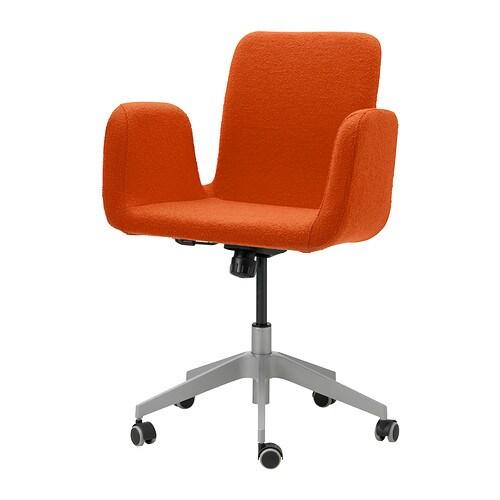 Patrik sedia da ufficio ullevi arancione ikea for Sedia da ufficio ikea