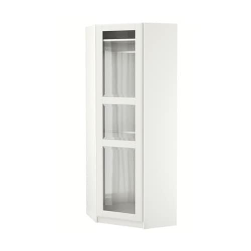 Pax guardaroba angolare tyssedal bianco vetro bianco for Guardaroba angolare ikea
