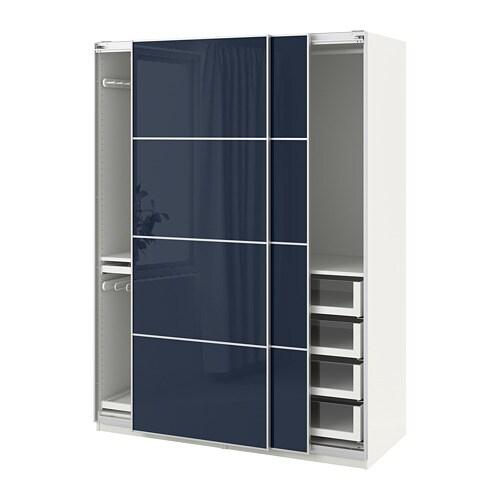 Ikea It Guardaroba.Pax Guardaroba Bianco Hokksund Lucido Blu Scuro Blu Nero