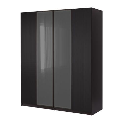 frontale Fevik marrone-nero/vetro smerigliato Hemnes marrone-nero
