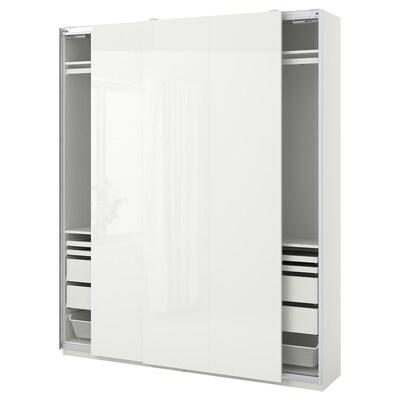 PAX / HASVIK Combinazione di guardaroba, bianco/lucido bianco, 200x44x236 cm