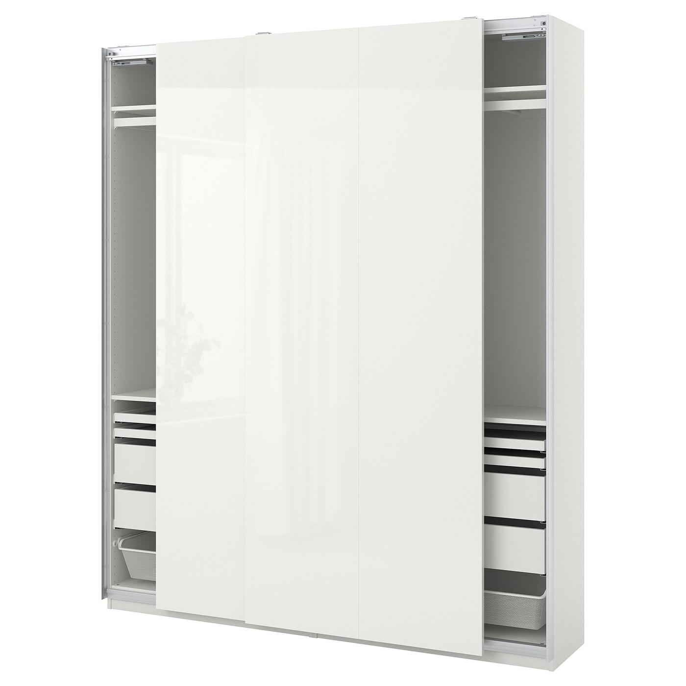 Ikea Pax Ante Scorrevoli Istruzioni Montaggio.Pax Hasvik Combinazione Di Guardaroba Bianco Lucido Bianco Ikea