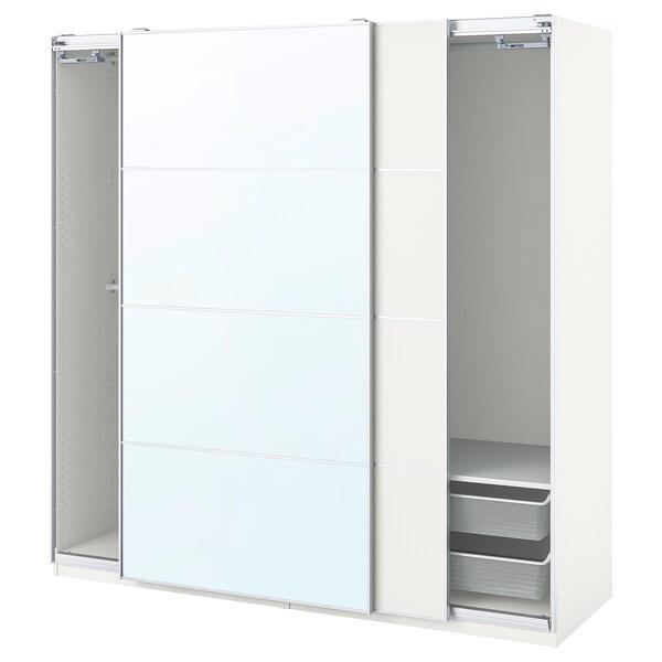 PAX / MEHAMN/AULI Combinazione di guardaroba, bianco/double-face vetro a specchio, 200x66x201 cm