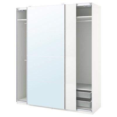 PAX / MEHAMN/AULI Combinazione di guardaroba, bianco/vetro a specchio, 200x66x236 cm