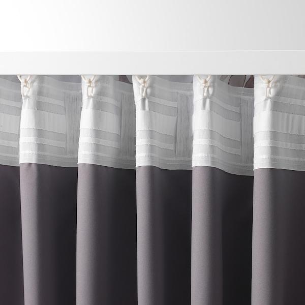 PIALOTTA Tenda semioscurante, 2 teli, beige chiaro/foglia, 145x300 cm
