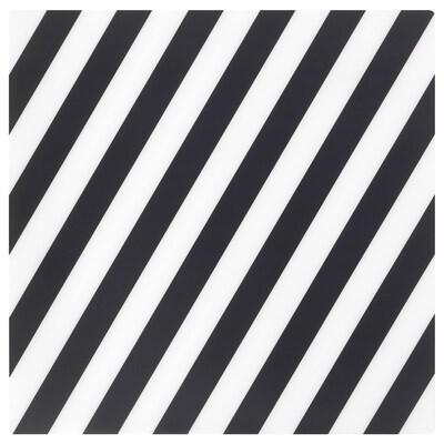 PIPIG Tovaglietta all'americana, a righe/nero/bianco, 37x37 cm
