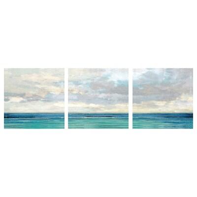 PJÄTTERYD Set di 3 canvas, mare e cielo, 56x56 cm