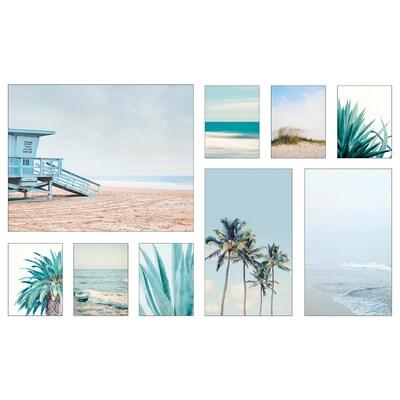 PJÄTTERYD Set di 9 immagini, Vacanza sulla costa, 179x112 cm