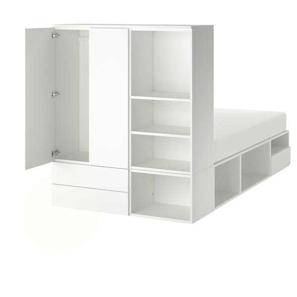 Armadio Letto A Scomparsa Ikea.Platsa Struttura Letto 2 Ante 3 Cassetti Bianco Fonnes Ikea