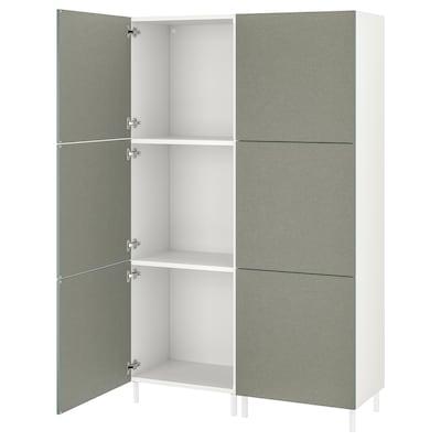PLATSA Guardaroba con 6 ante, bianco/Klubbukt grigio-verde, 120x42x194 cm