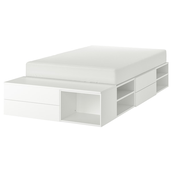 PLATSA Struttura letto con 4 cassetti, bianco/Fonnes, 142x244x43 cm