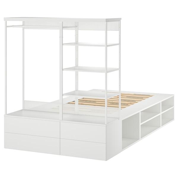 PLATSA Struttura letto con 4 cassetti, bianco/Fonnes, 140x244x163 cm