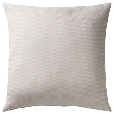 PLOMMONROS Fodera per cuscino, beige/bianco, 50x50 cm
