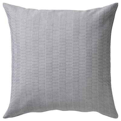PLOMMONROS Fodera per cuscino, blu scuro/bianco, 50x50 cm