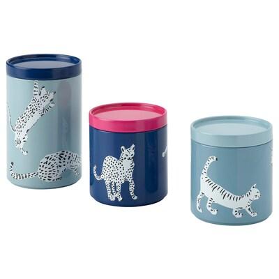 PLUGGHÄST Set di 3 barattoli con coperchio, gatto/multicolore
