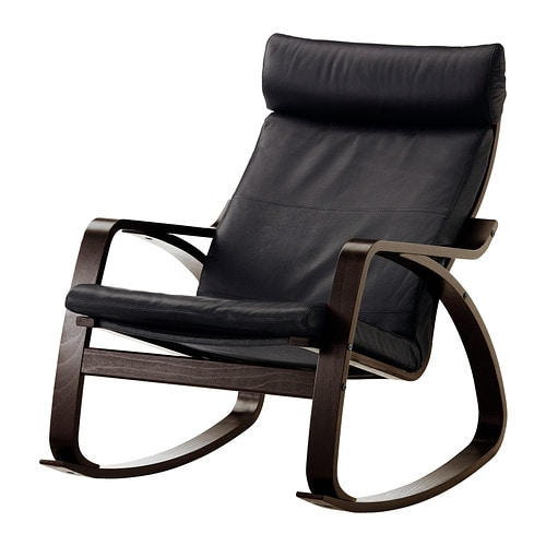 Po ng sedia a dondolo smidig nero marrone nero ikea for Sedia a dondolo in pelle