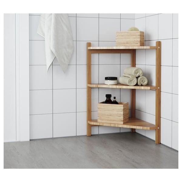 RÅGRUND Sottolavabo/scaffale angolare, bambù, 34x60 cm