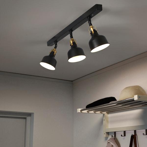 RANARP Binario da soffitto, 3 faretti, nero
