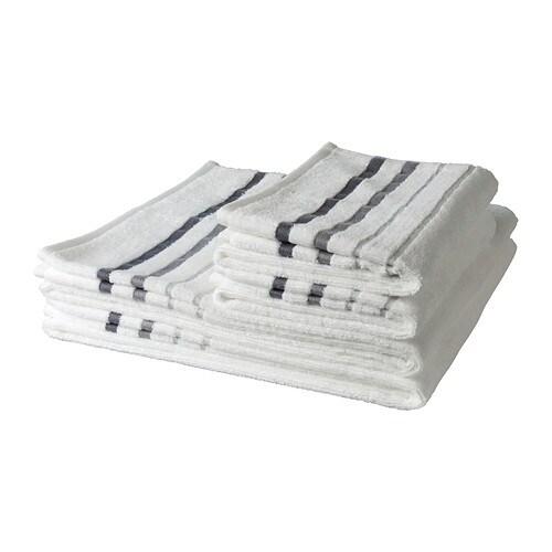 RANSBY Set di 4 asciugamani , bianco, riga