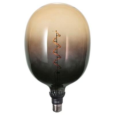 ROLLSBO Lampadina a LED E27 160 lumen, intensità luminosa regolabile tubolare/marrone-nero vetro trasparente, 175 mm