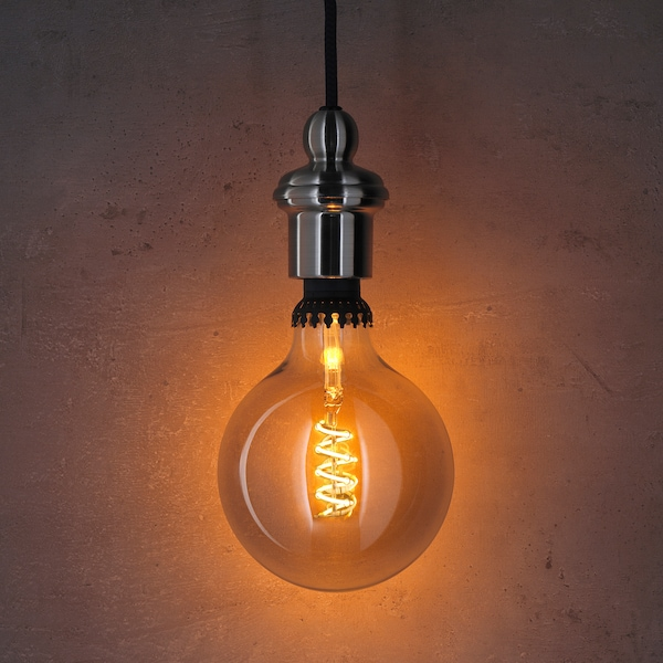 ROLLSBO Lampadina LED E27 200 lumen, intensità luminosa regolabile/globo vetro trasparente grigio, 125 mm