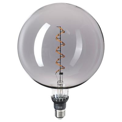 ROLLSBO Lampadina LED E27 200 lumen, intensità luminosa regolabile/globo vetro trasparente grigio, 200 mm