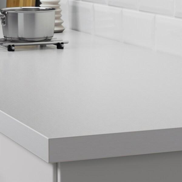 SÄLJAN piano di lavoro su misura effetto alluminio/laminato 100 cm 10 cm 400 cm 45.1 cm 63.5 cm 3.8 cm