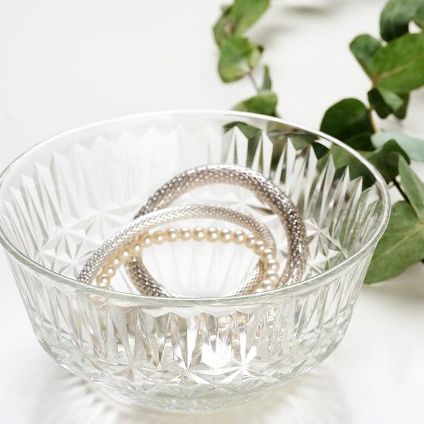 SÄLLSKAPLIG Ciotola, vetro trasparente/fantasia, 15 cm