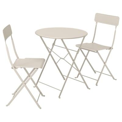 SALTHOLMEN Tavolo+2 sedie pieghevoli giardino, beige
