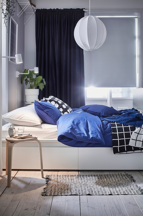 SANELA Tenda semioscurante, 2 teli, blu scuro, 140x300 cm