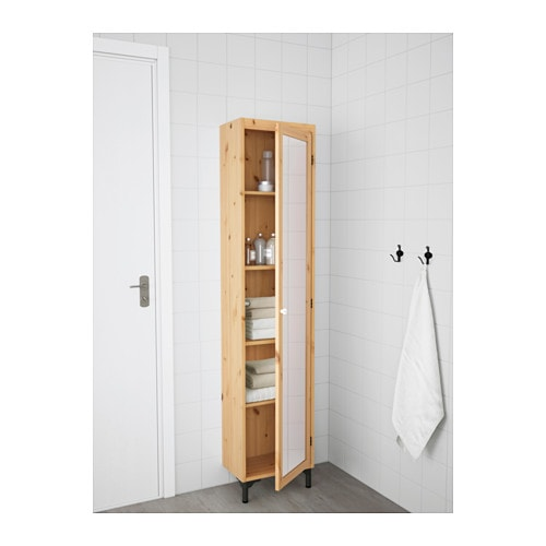 SILVERÅN Mobile alto con anta a specchio marrone chiaro
