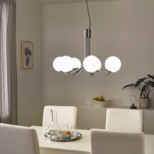 SIMRISHAMN Lampadario, 7 bracci, cromato/bianco opalino vetro