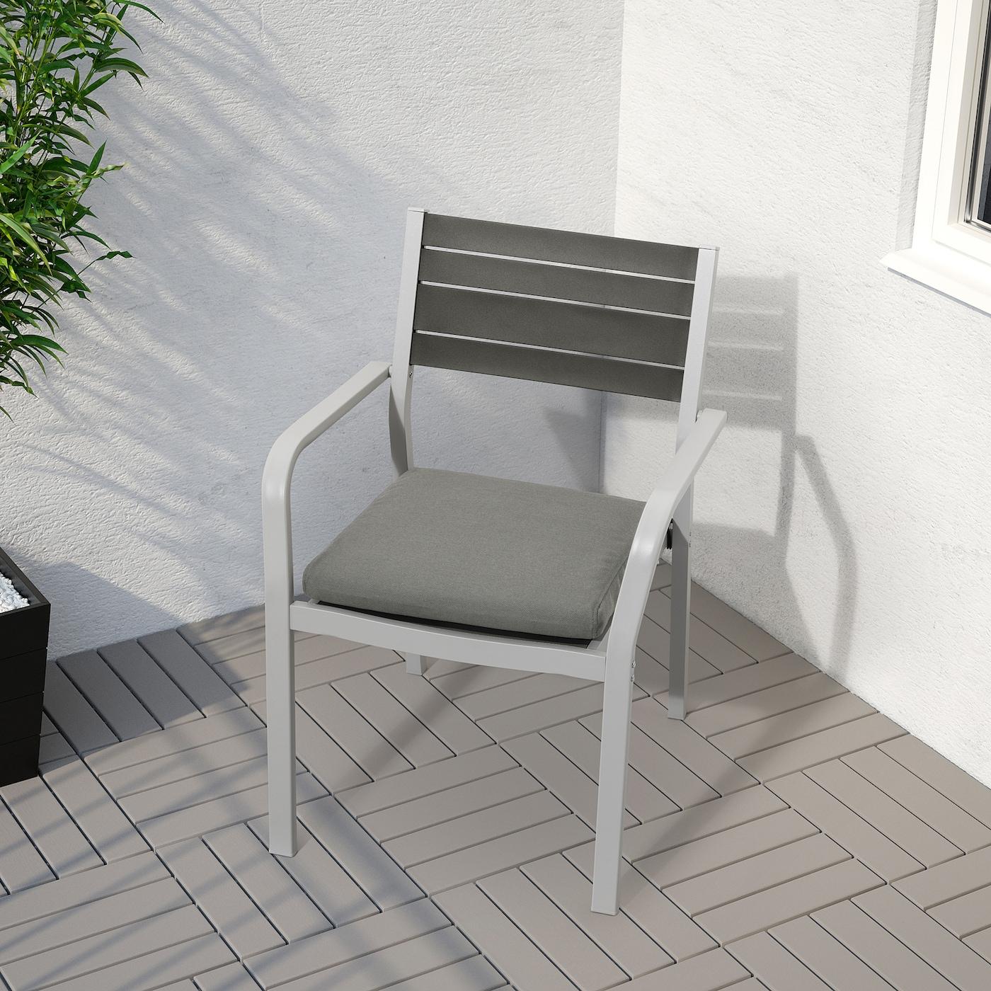 SJÄLLAND Sedia con braccioli da giardino grigio chiaro, grigio scuro